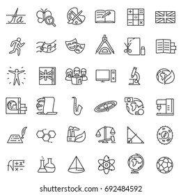 School subjects, icon set. Lessons collection. Lines with editable stroke. Icons for a website