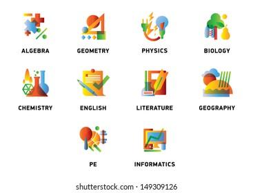 School subjects icons - stock vector icon set