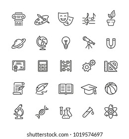 School subjects related icons: thin vector icon set, black and white kit