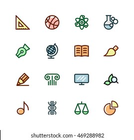 School subjects Set of icons vector. A mathematician,sport, physics, chemistry, literature, language, geography, drawing, geometry, history, music, anatomy, biology, civics and Economics.