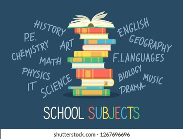 School subjects. Stack of books with hand written school subjects
