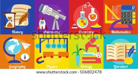school subjects various illyustatsii school subjects stock vector