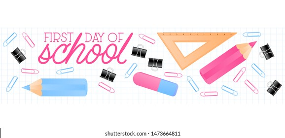 School suplies ruler, color pencils with quote School Time, and copy space place text , vector illustration. Square Banner background template