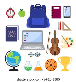 School supplies. Back to school. The set of objects in a flat style. Vector illustration.