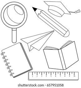 School Supplies Coloring Pages - GetColoringPages.com | 280x260