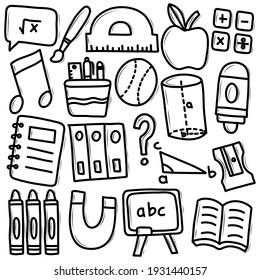 School Supplies Doodle Icon Set