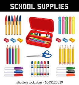 School Supplies for elementary, grammar, middle, high school: ball point pens, highlighters, pencils, sharpeners, scissors, small tip and large marker pens with red pencil box isolated on white.