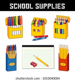 School supplies for elementary, middle school, kindergarten, daycare, preschool: marker pens, wax crayons, colored pencils, ball point pens, lined writing paper, sharpener, isolated on white.