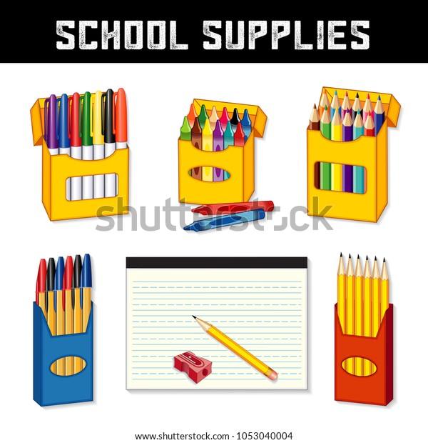 School Supplies Elementary Middle School Kindergarten Stock