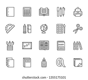 School supplies flat line icons set. Study tools - globe, calculator, book, pencil, scissors, ruler, notebook vector illustration. Thin signs for stationery sale. Pixel perfect 64x64. Editable Stroke.