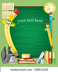 School supplies and green chalkboard. Your text here. Vector Illustration background.