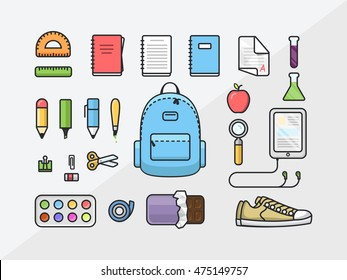 School supplies icon set, back to school outline illustration, flat design template of educational kit
