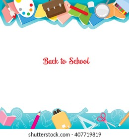 School Supplies Icons On Frame, Back to school, Stationery, Book, Children, Educational Subject, Objects, Icons