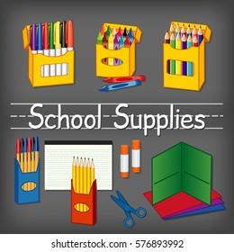 School supplies for kindergarten, daycare, back to school, marker pens, crayons,  pencils, pens, lined paper, glue sticks, scissors, folders, chalkboard background, penmanship title. EPS8 compatible.
