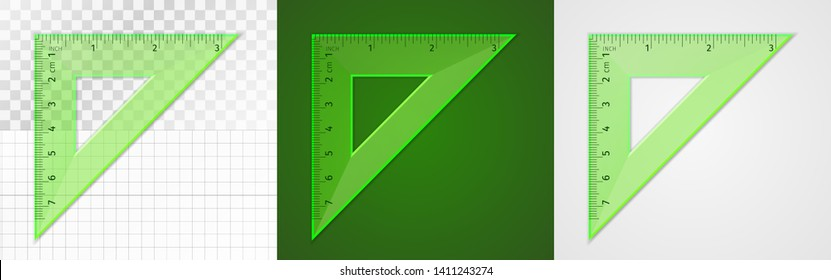 School supplies. Measuring tool. Green plastic transparent equilateral triangular ruler 7 cm and 3 inch for drawing lines, especially 90 and 45 degrees. Application examples on different backgrounds