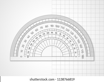 School supplies. Measuring tool. Transparent plastic protractor on white and sheet in a cell. Drawing device is an arc divided into degrees to measure the angles and apply them to the drawing