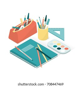 School supplies and notebook, back to school and creativity concept