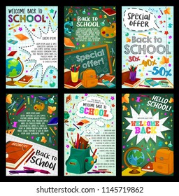 School supplies offer banner and back to school poster. Pencil, book, ruler and pen in backpack, chalkboard with calculator, microscope and globe, paint, scissors and laboratory tube card desi