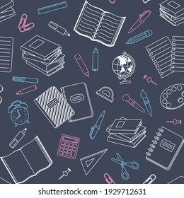 School supplies and office stationary on chalkboard background. Vector seamless pattern for banner, poster, website, wrapping paper, printing on fabric and textile. Back to school or education concept