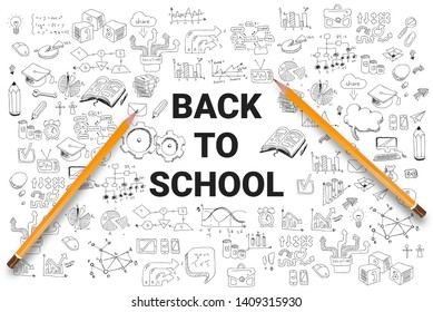 School supplies on the background of drawings. Back to school concept. Modern vector illustration. - Vector illustration