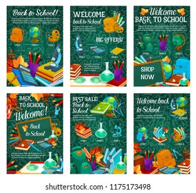 School supplies sale promotion poster template. Discount offer banner set with book, pencil and paint, globe, scissors and backpack, calculator, notebook and microscope on green chalkboard background
