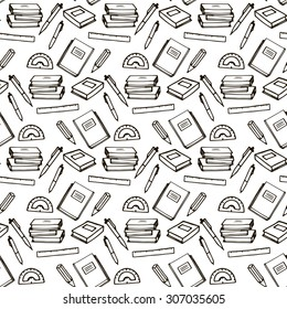 School supplies seamless pattern, black lines, white background