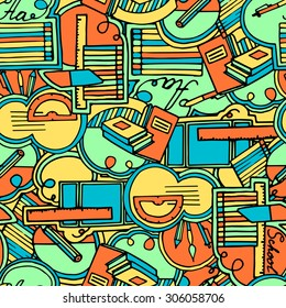 School supplies seamless pattern, bright colors
