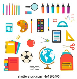 School supplies set with ruler, calculator, globe, books, soccer ball, notebooks, pen, pencils, paints, backpack, etc.