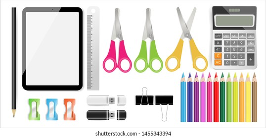 School supplies set with tablet, calculator, pencil, color pencils, ruler, scissors, USB flash drive, sharpeners and black paper clips on white background. Vector illustration