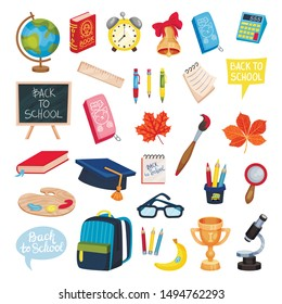 School supplies set. Vector illustration on a white background.
