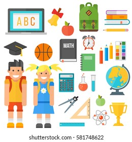 School supplies stationery equipment and schoolkid vector illustration.