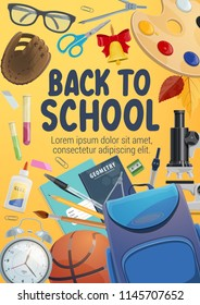 School supplies and student items poster for education themes design. Pencil, book and scissors, bag, paint and brush, microscope, clock and office stationery banner for Back to School design