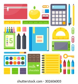 School supplies from student's backpack. Vector flat illustration, no transparencies.
