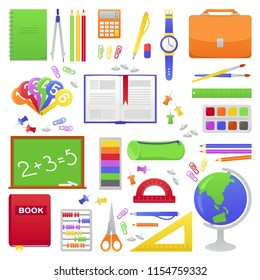 School supplies from student's or pupil backpack. Vector colorful illustration of orange schoolbag, book, globe, calculator. Bright concept design for web, site, advertising, banner, poster, board.