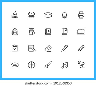 school supplies and subjects linear icons and color icons. roller, brush, art ,science ,sport. Set of study symbols drawn with thin contour lines. Vector illustration.