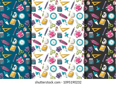 School supplies theme. Seamless pattern set. Vector illustrator.