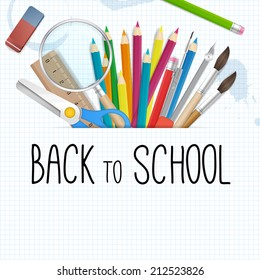 School supplies tools vector background  vector background with place for text. isolated from background. layered.