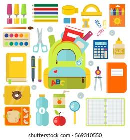 School supplies vector illustration isolated on white
