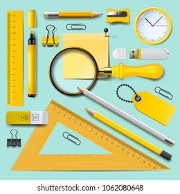 School supplies, yellow stationery accessories on mint background, top view, vector illustration
