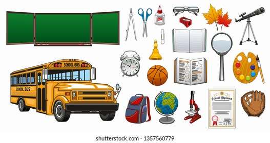 School symbols and education stationery isolated icons. Vector Back to School green chalkboard, basketball sport ball, student backpack with books and pencils, biology microscope and school bus