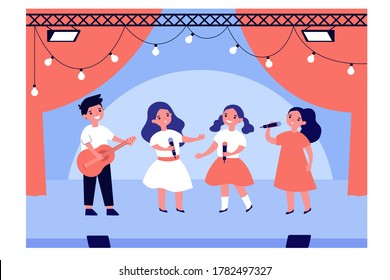 School talent show. Boy and girls singing and playing guitar on stage. Vector illustration for kids theater, school performance, vocal, children music education concepts