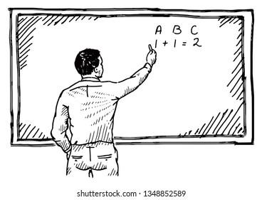 A school teacher at a blackboard. Hand drawn vector illustration.