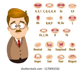 School teacher character constructor for custom animation. Mustache man personage with various facial emotions lip sync vector illustration. Funny professor or businessman in suit and tie creation set