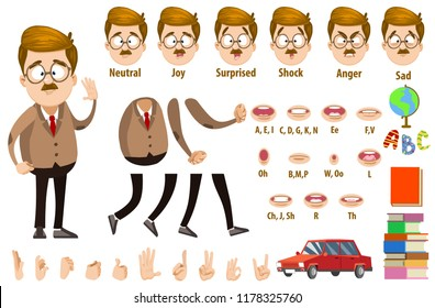 School teacher character constructor and objects for custom animation scene. Lecturer various facial emotions, hand gestures and lip sync vector illustration. Professor in suit and tie creation set