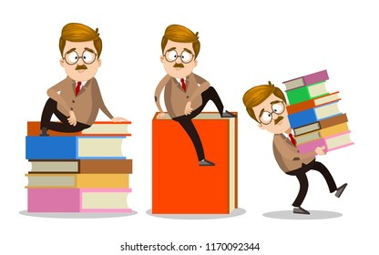 School teacher character in glasses sitting on big book. Male lecturer carries stack of books vector illustration. Mustache professor cartoon personage in suit and tie. Book fair advertising campaign