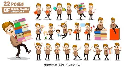 School teacher character set in various poses. Man holding books and shopping bags, showing different hand gestures and playing with children vector illustration. Mustache professor in suit and tie.