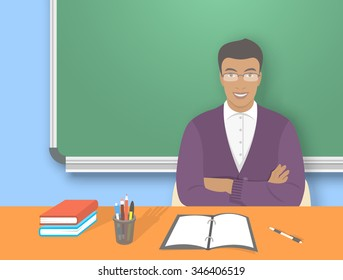 School teacher at desk flat education vector illustration. Young smiling African American man sitting at table with books, pens and pencils in front of blackboard. Studying, learning concept