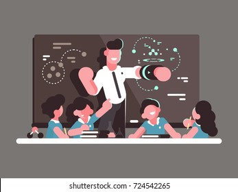 School teacher at lesson. Teaching children in classroom. Vector illustration