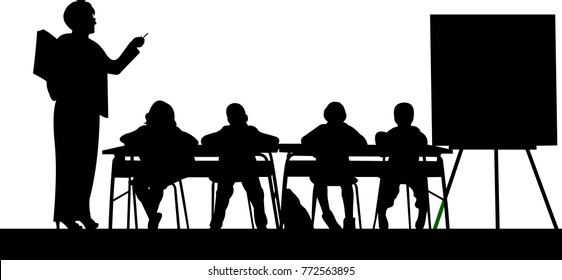 School teachers with book in the class teach your students silhouette, one in the series of similar images