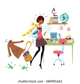 School teen girl having time organization problem. No time to do the homework. Vector illustration.